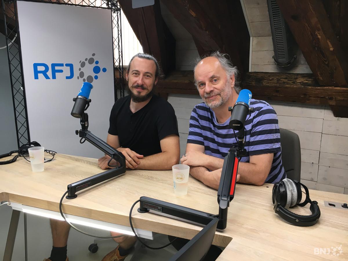 """Benoît Roche et Maxime Beltran, metteurs en scène du spectacle """"Moutier côté Jardins"""""""